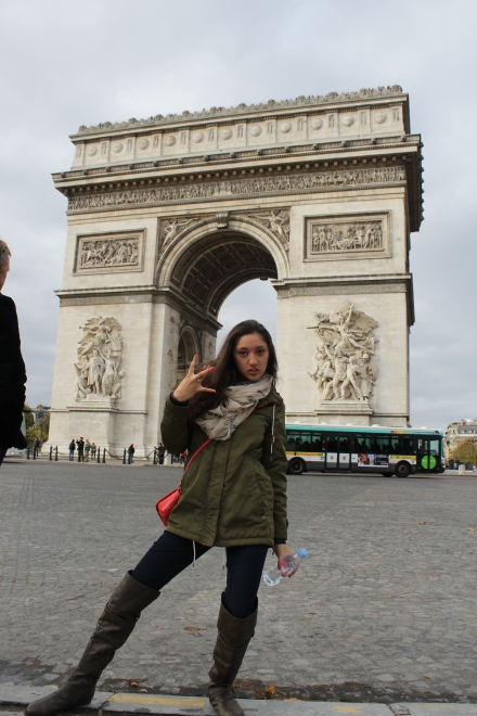 That one time I was throwing up the West Side sign while in Paris. Once a thug always a thug.
