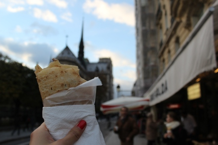 Ate some crepes right outside of Notre Dame.