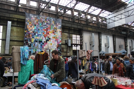 The flea market consisted  of two full side by side warehouses.